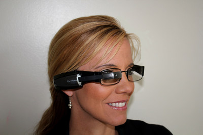 Vuzix M100 Smart Glasses attached to prescription frames (PRNewsFoto/Vuzix Corporation)