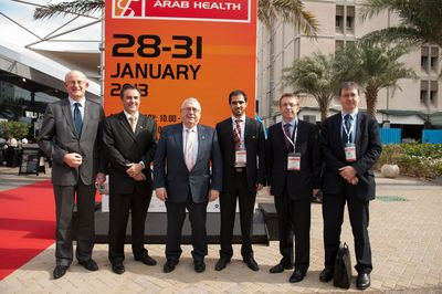 Left to Right: Dr Tom Kelly Divisional Manager Enterprise Ireland, Sean Davis Regional Manager Enterprise Ireland Dubai, Minister Joe Costello TD, Eamon Sikafi Enterprise Ireland Dubai, H.E. Ciaran Madden Irish Ambassador to the UAE, Pat Kelly Middle East Director Department of Foreign Affairs Ireland