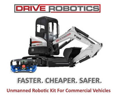 DriveRobotics is an add-on applique kit that transforms manned commercial vehicles into unmanned robots. This feature enables building demolition and roadside construction companies to convert to unmanned operations whenever operators face hazardous situations. It can also be installed in both new vehicles and existing fleets.
