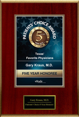 Dr. Gary Kraus of Houston, TX is a Five-Time Patients' Choice Honoree.  (PRNewsFoto/American Registry)