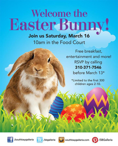 South Bay Galleria welcomes the Easter Bunny with a special event at the mall on March 16.  (PRNewsFoto/South ...