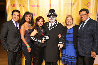 """Members of The National Museum of Mexican Art's Board of Directors (from l to r) Carlos R. Cardenas, NMMA Board of Trustees Chair and Managing Director of Wintrust Financial Corporation; Diana Palomar, Vice President of Community Affairs at ABC 7 Chicago; Julie Chavez, Senior Vice President and Market Manager for Bank of America; Carlos Tortolero, President and CEO of NMMA; Rosa Elena; and Jose Luis Prado celebrate at the museum's """"Love Never Dies"""" Day of the Dead ball."""