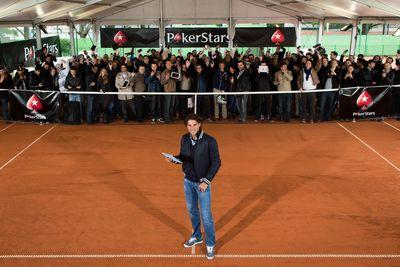 Rafa Nadal faces fans at a Paris online poker tournament
