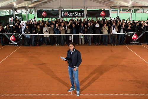 Rafa Nadal faces fans at a Paris online poker tournament