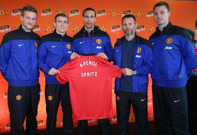 From L-R: Manchester United players Anders Lindegaard, Darren Fletcher, Rio Ferdinand, Ryan Giggs, Jonny Evans