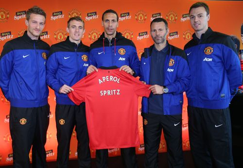 From L-R: Manchester United players Anders Lindegaard, Darren Fletcher, Rio Ferdinand, Ryan Giggs, Jonny Evans ...