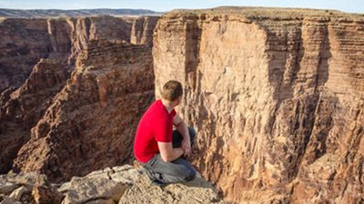Nik Wallenda and the Grand Canyon - Photo courtesy of Discovery.   (PRNewsFoto/Broadcast Sports, Inc.)