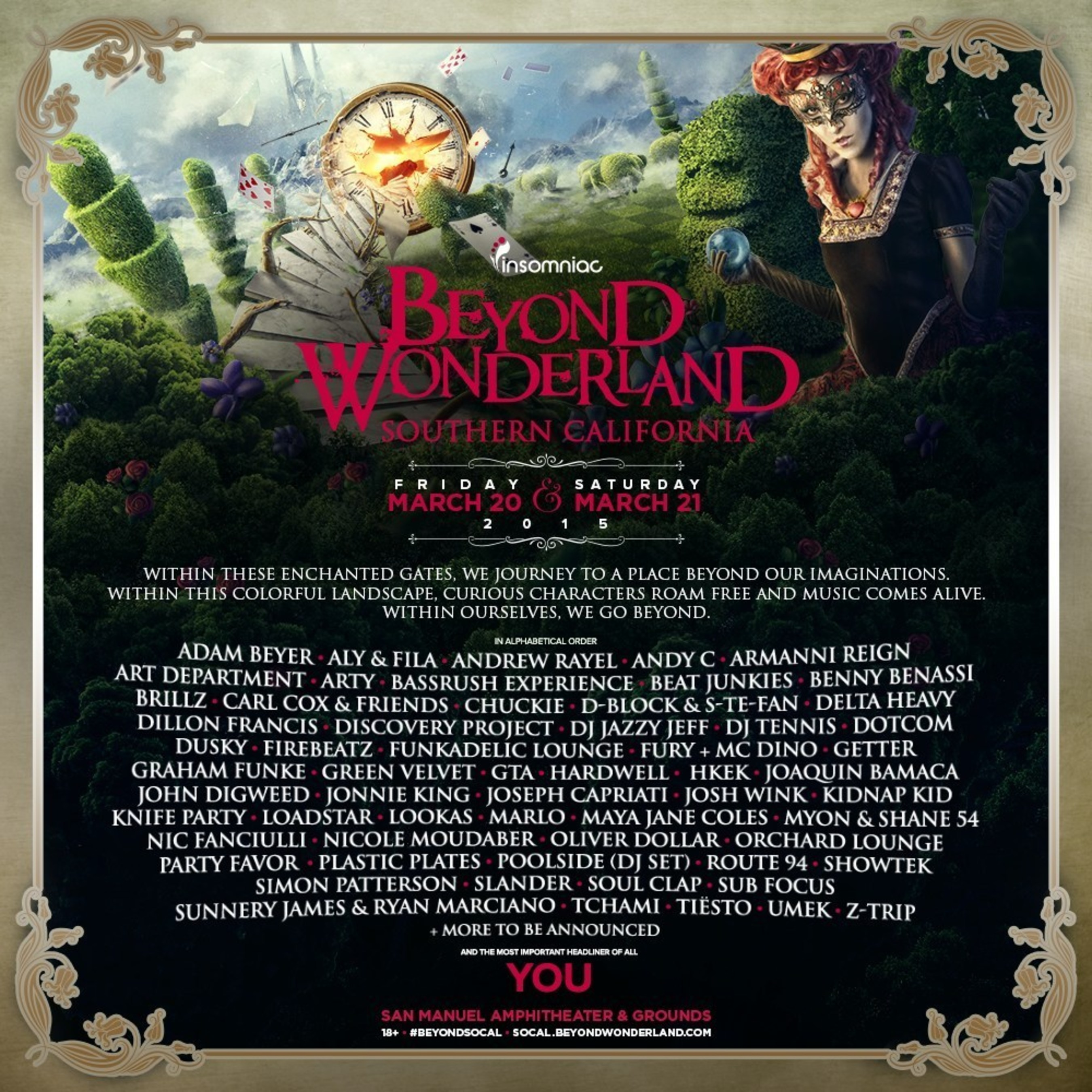 Insomniac Unveils Lineup for 2015 Beyond Wonderland, Southern California Taking Place March 20-21 at San Manuel Amphitheater & Grounds