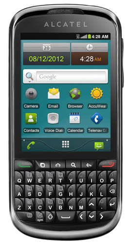 Alcatel's affordably-priced ONE TOUCH Premiere(R) offers an enhanced messaging and mobile web experience that includes pre-loaded applications and quick access to weather, maps, navigation, email, web browsing and social media. Its 3G network capability assures fast data connections on the go and added Wi-Fi connectivity lets users upload pictures and videos to Facebook or Twitter, surf the web, and download content without using up their plan data allowance.  (PRNewsFoto/ALCATEL ONE TOUCH)