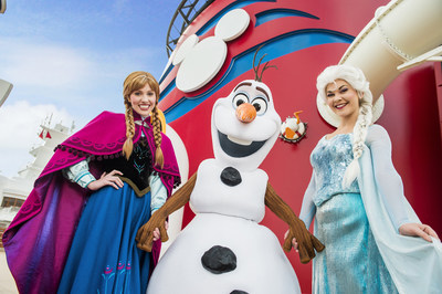 "Beginning in summer 2015, Disney Cruise Line guests can immerse themselves in the animated hit ""Frozen"" with brand-new experiences inspired by the film, including a spectacular deck party, a three-song stage show production number, new character meet and greets, storybook adventures ashore and more. (Matt Stroshane, photographer)"