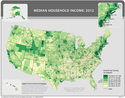 Metropolitan counties along the East Coast continued to have the highest median household income in the country. These counties are located in large metro areas, such as Boston and New York, and are heavily concentrated in the Northern Virginia portion of the Washington area. (PRNewsFoto/U.S. Census Bureau) (PRNewsFoto/U.S. CENSUS BUREAU)
