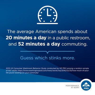 The average American spends about 20 minutes a day in a public restroom -- and 52 minutes a day commuting. Guess which stinks more.