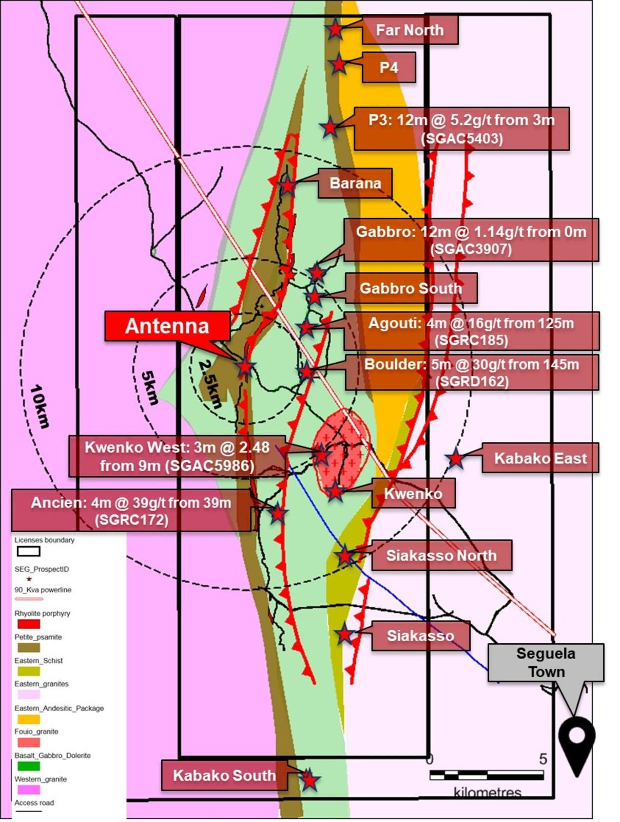 Figure 2.  Séguéla satellite prospects.