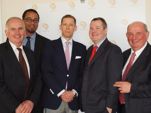 L – R: Luke Comer (CARE/Comer Group), Chris Cleverly (CARE/Made in Africa Foundation), Michael Dawes (Memery ...