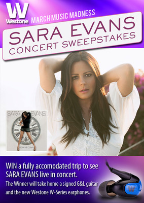 "Westone, the leader in high performance audio and in-ear monitoring technology, announced the launch of their March Music Madness sweepstakes featuring VIP tickets to see Sara Evans in concert, a pair of W-Series in-earphones and a G&L custom ""W"" guitar handcrafted in California.  (PRNewsFoto/Westone)"