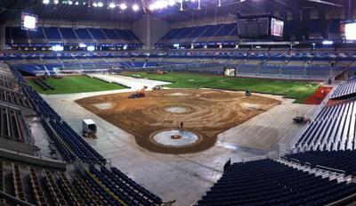 Alamodome Baseball Field installation.  (PRNewsFoto/AstroTurf)
