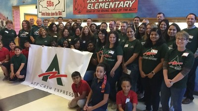 ACE employees volunteering with JA In A Day at local elementary school