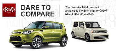 The 2014 Kia Soul and the 2014 Nissan Cube may share some basic design elements, but they're also quite different according to Wisconsin dealership Palmen Kia.  (PRNewsFoto/Palmen Kia)
