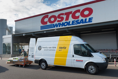 Short term Hertz 24/7 van rentals are now available at all 25 Costco warehouses in the UK, enabling Costco's members enrolled in the Hertz 24/7 scheme to drive their purchased items home immediately for just 13 pounds per hour.  (PRNewsFoto/The Hertz Corporation)