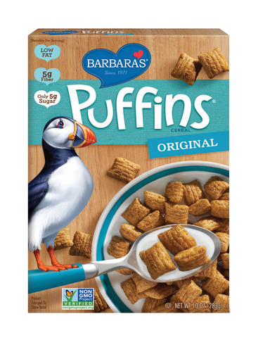 Puffins, Barbara's Best-Selling Cereal, Now Non-GMO Verified.  (PRNewsFoto/Barbara's)