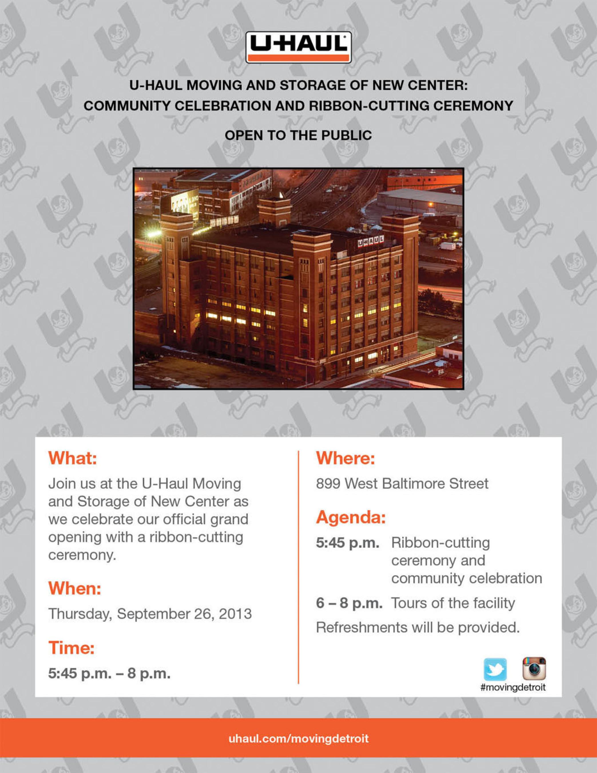 Grand Opening Community Celebration Tomorrow at U-Haul Moving and Storage of New Center