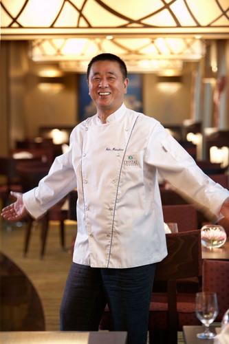 Master Chef Nobu Matsuhisa in his Silk Road and the Sushi Bar on board Crystal Cruises.  (PRNewsFoto/Crystal ...