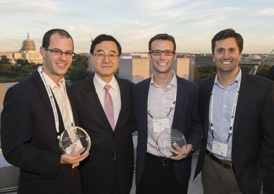 "REBIScan and Velano Vascular were the winners of the recent pediatric medical device competition hosted by the Sheikh Zayed Institute for Pediatric Surgical Innovation at Children's National Health System at its one-day symposium. (L to R) Justin G. Shaka, REBIScan; Peter Kim, MD, Ph.D., Sheikh Zayed Institute; Eric M. Stone and Pitamber ""Pitou"" Devgon, MD, Velano Vascular. Photo: Kaveh Sardari"