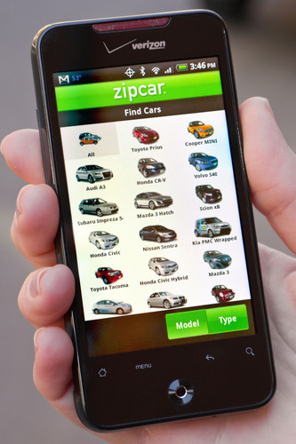 Zipcar unveils its new Android(TM) mobile application.  (PRNewsFoto/Zipcar, Inc.)