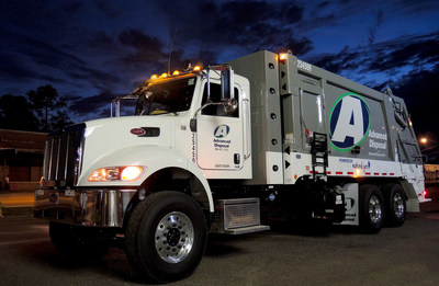 One of Advanced Disposal's brand new compressed natural gas, rear-load truck for residential solid waste collection.