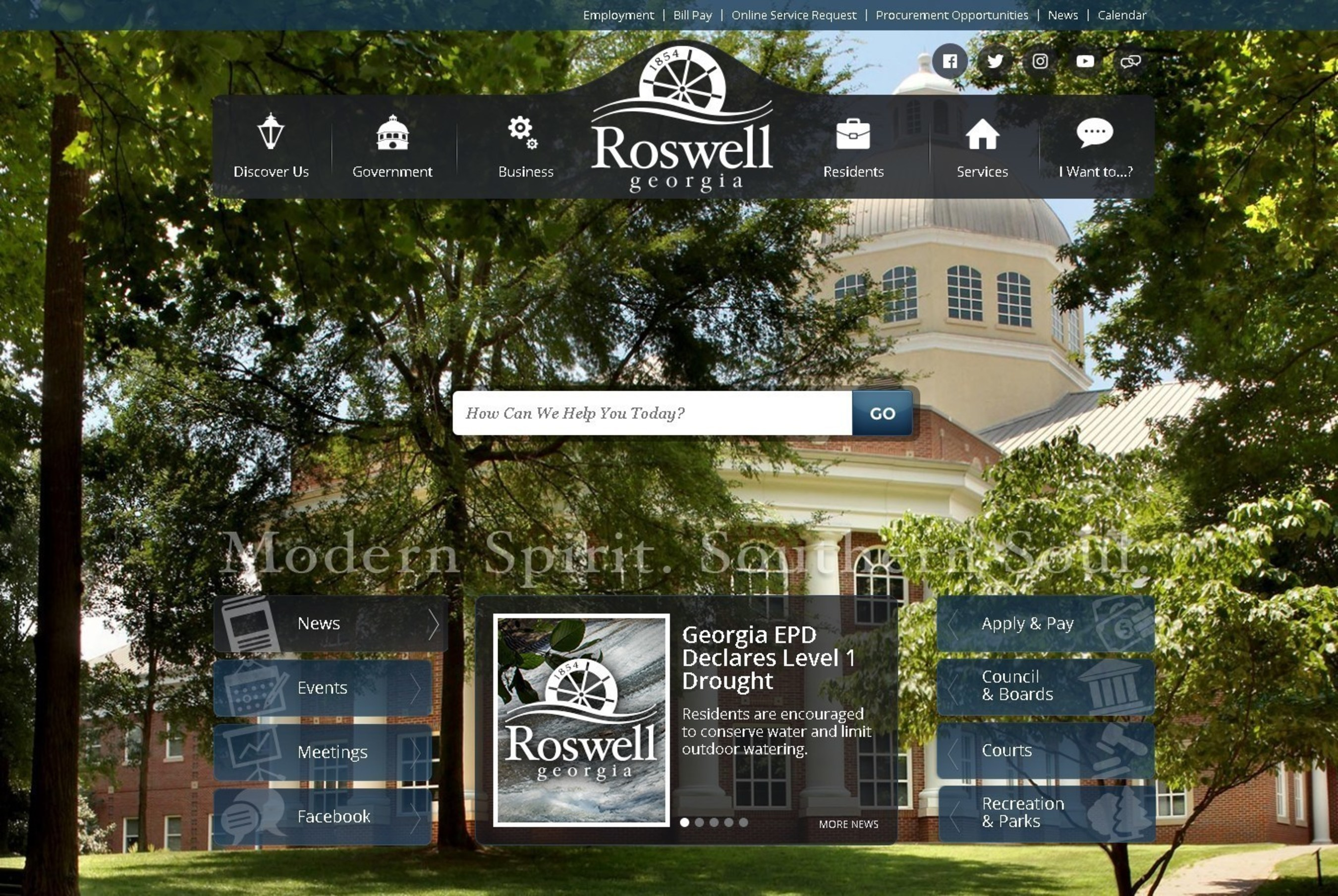 The City of Roswell, Georgia won a National Association of Government Web Professionals Pinnacle Award for its Vision-designed website, which features a prominent search bar on the homepage that makes it easy for visitors to find information.