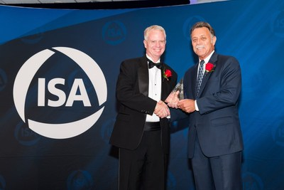 Mr. Jim Blaschke, VP Sales and Business Development at CyberX, receives the ISA Excellence Award from Mr. James W. Keaveney, ISA President, at the 54th Annual ISA Honors & Awards Gala, held in Newport Beach, California