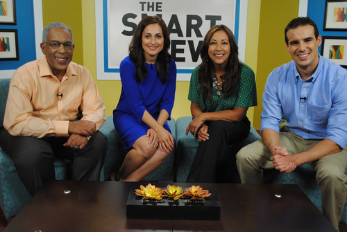 """View from the set of season 2 of """"The Smart View."""" From left to right: Tony Knowles, Farnoosh Torabi, ..."""