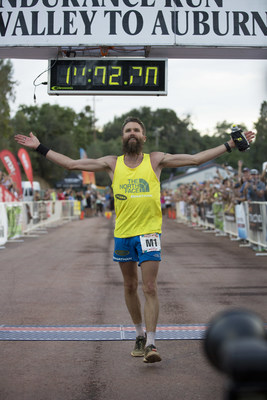 The North Face runner Rob Krar finishes first at the Men's Western States 100 Mile Endurance RunPhoto credit: Alex Aristei / GOLDIE Productions