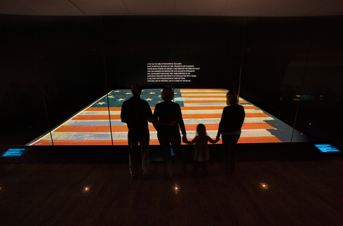 The Star Spangled Banner, the flag that inspired the national anthem, on display at the Smithsonian's ...