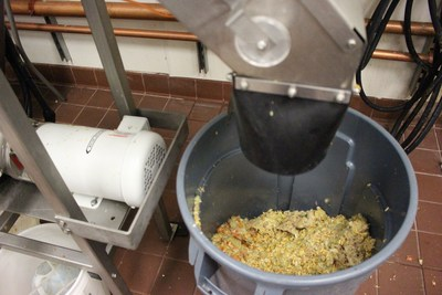 Sodexo operated machines grind and then dehydrate all of the food waste from the main resident dining hall and prep kitchen which is ultimately composted, providing valuable soil amendment for campus landscaping.