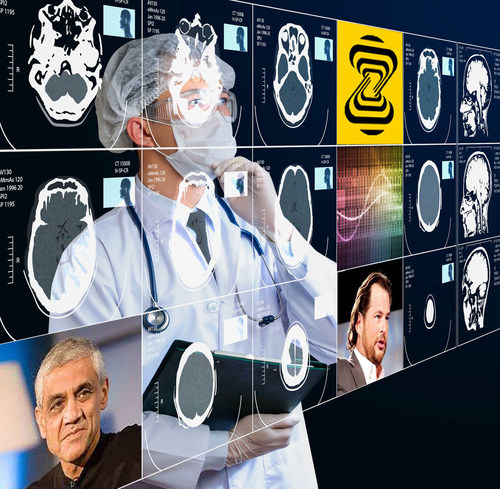 Zebra Medical Vision announce the launch of its medical imaging insights platform and funding from Khosla venture and Mark Benioff.  Image credit : shutterstock, Wikipedia (PRNewsFoto/Zebra Medical Vision)
