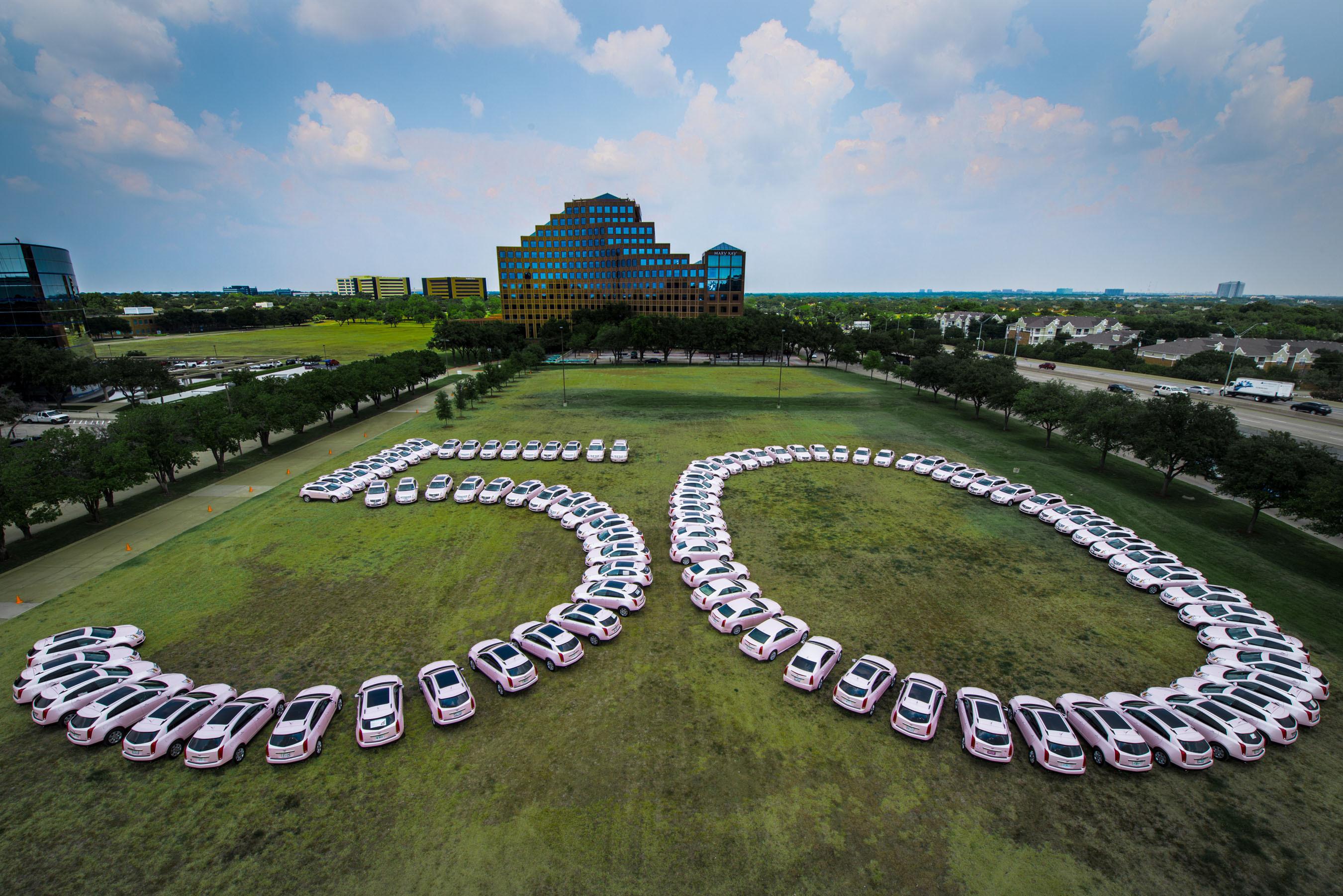 Mary Kay Inc.'s iconic pink Cadillacs salute the global beauty company's 50th anniversary. (PRNewsFoto/Mary Kay Inc.) (PRNewsFoto/MARY KAY INC.)