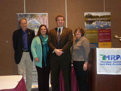From left to right: Ron Olson, Michigan DNR Chief, Maia Stephens, Michigan DNR Recreation Programmer, BJ ...