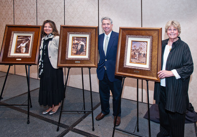 Melissa Montgomery-Lynch, Nathaniel Crosby and Linda Hope were on hand to accept the honor on behalf of their parents.  (PRNewsFoto/Southern California Golf Association)