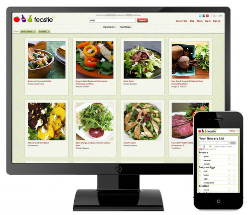 Recipe search engine, Feastie, allows users to discover recipes from over a thousand food blogs from the original photography.  (PRNewsFoto/Feastie, Inc.)