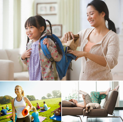 Kids getting ready for school without arguing or prompting + Getting my daily exercise in + Down time between errands to relax uninterrupted [KidStock/Blend Images/Getty Images; Joshua Hodge Photography/the Agency Collection/Getty Images; Todd Pearson/Digital Vision/Getty Images].  (PRNewsFoto/The Quaker Oats Company)