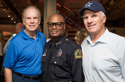 Roger Staubach, former Dallas Cowboys quarterback (left) with Dallas Police Chief David Brown (middle) and Southern Glazer's Executive Vice Chairman Bennett Glazer (right).