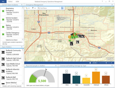 The new Windows-based Operations Dashboard for ArcGIS application leverages responsive maps and dynamic data to create operational views including charts, lists, gauges, and indicators that update automatically as underlying information changes.  (PRNewsFoto/Esri)