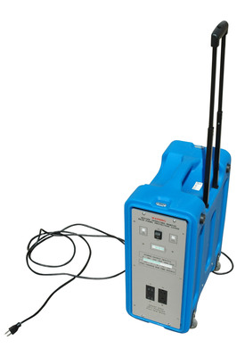 The BPLI-2K-120 power supply is a heavy duty portable power distribution system that provides a convenient and reliable source of 120 VAC power for locations where standard power sources are unavailable or impractical. Featuring 1,200 watt hour Lithium Ion battery, 2000 watt continuous and 4000 watt peak capacities, and a rugged case fitted with a telescoping handle and rugged wheels, this portable power source is an ideal system for general contractors, electricians, carpenters, police, fire departments, rental companies, video and film crews, outdoor vendors, and much more.  (PRNewsFoto/Larson Electronics)