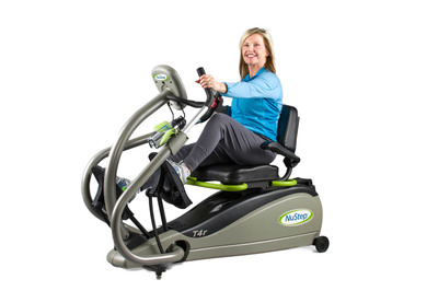 A User Exercises on the NuStep T4r Recumbent Cross Trainer