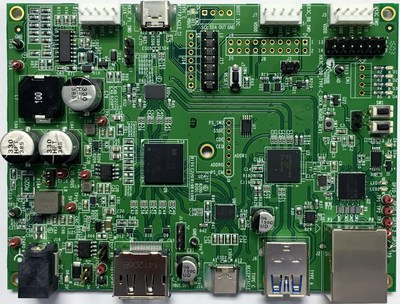 Pictured is the Cypress EZ-USB HX3C USB-C dock reference design kit.