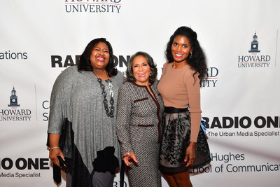 Susan Banks, TV One's EVP, Special Projects, Radio One, Inc. Founder and Chairperson Cathy Hughes and TV One actress Denise Boutte (Media) at the Cathy Hughes School of Communications Celebratory Brunch at Howard University on Sunday, October 23, 2016 in Washington.