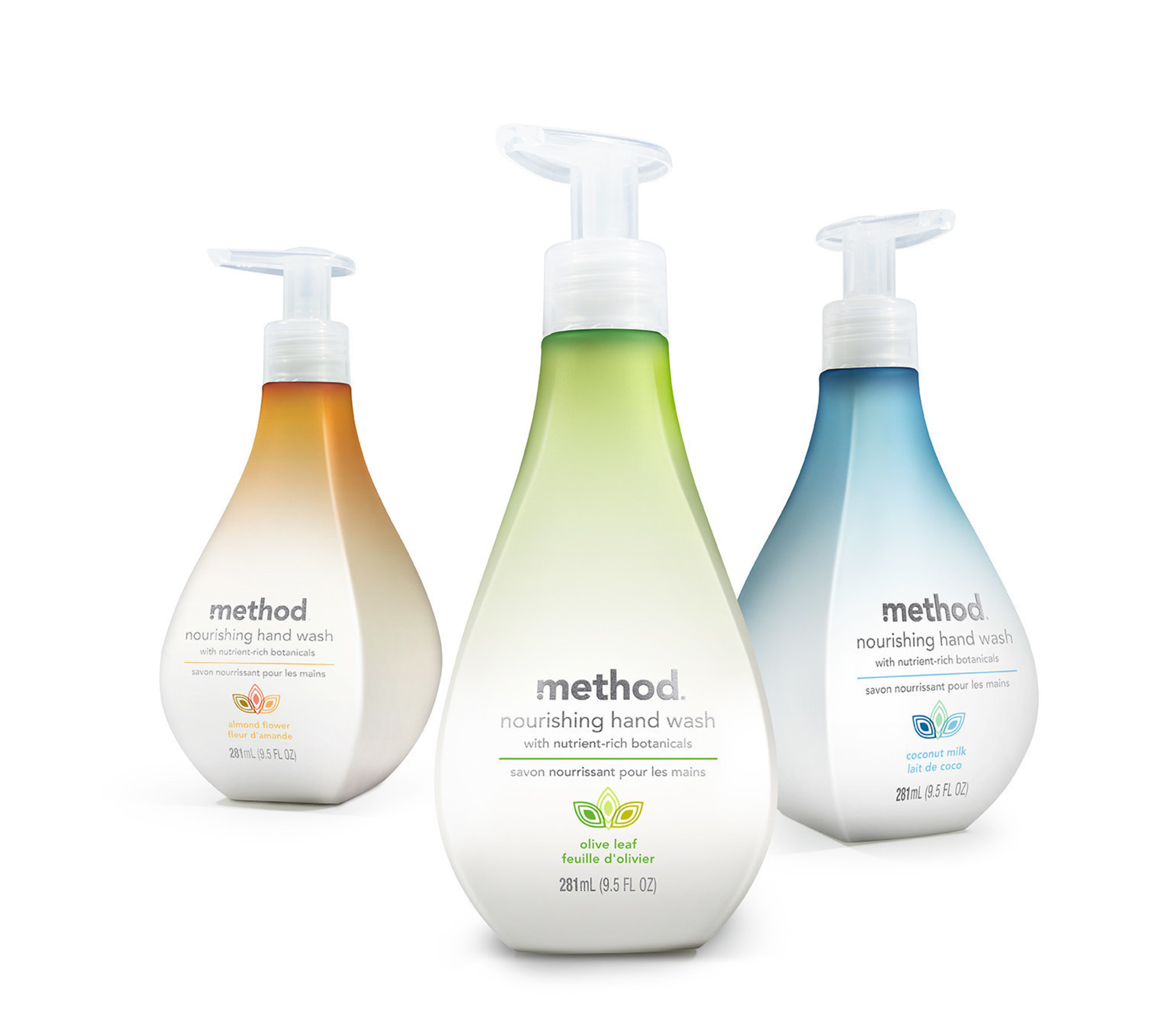 method's new nourishing hand wash comes in three nature-inspired scents--almond flower, olive leaf and coconut milk--and combines nutrient-rich botanicals with a naturally derived hydrating complex to moisturize and soften hands