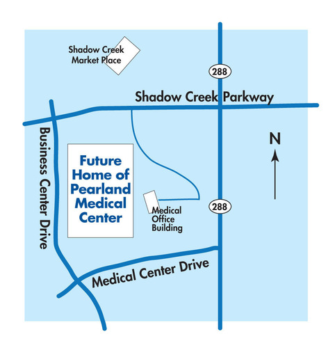 Future Home of Pearland Medical Center, 10970 Shadow Creek Parkway, Pearland, TX 77584. (PRNewsFoto/HCA Gulf ...