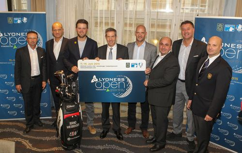 Lyoness Open, preview for season 2015, press conference. Image shows (f.l.t.r.: ) Christian Guzy (President Diamond Country Club), Herwig Straka (Managing Partner e|motion management gmbh), Austria's top golfer Bernd Wiesberger, Keith Waters (Chief Operating Officer and Director of International Policy of the European Tour), Mathias Vorbach (company spokesperson Lyoness), Ali Al-Khaffaf (Manager Golf Open Event GmbH), Edwin Weindorfer (Managing Partner e|motion management gmbh) and Gerhard Frühling (Board Member Austrian Golf Association). (PRNewsFoto/Lyoness Europe AG)